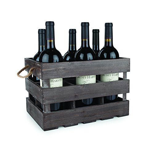 (Twine 4281 Rustic Farmhouse Wooden 6 Bottle Crate, 8.75