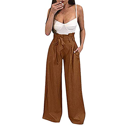 - Pervobs Womens Comfy Chic Palazzo Lounge Pant Casual Paper Bag Pants Elastic Waist Pockets Wide Leg Pant Trouser(S, Z01-Coffee)