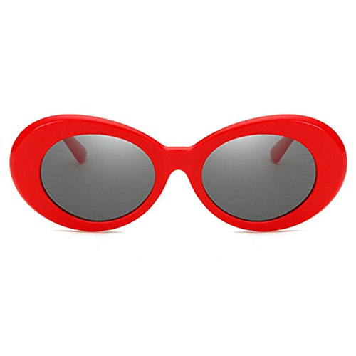 Oversize Retro Oval Frame Sunglasses - Red Label - Eyewear Label Red