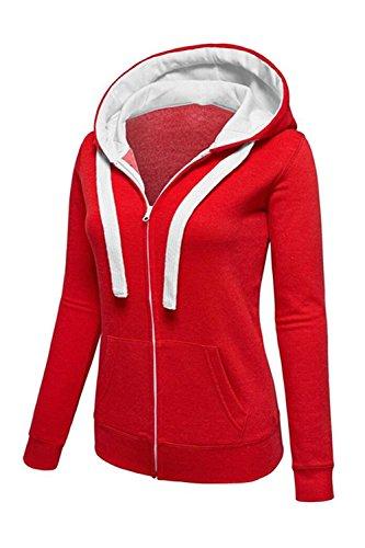 Sudaderas Con Cremallera Mujer Otoño De Manga Larga Pullover Sweater Red