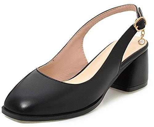 IDIFU Women's Sexy Mid Chunky Heel Square Toe Slingback Buckle Pendant Pumps (Black, 10 B(M) US) by IDIFU