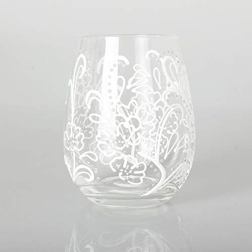 Hand-Painted Luxury Stemless Wine or Cocktail Glass Designed in London by Stephanie Cole White Floral Paisley Design with Gift Box