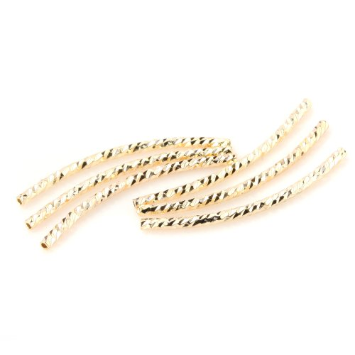 BEADNOVA 30pcs 14k Gold Plated Twist Curved Long Noodle Tube Beads for Jewelry Making Findings (2mm x 20mm) (Jewelry Beads Tube)