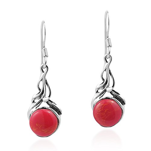 Precious Orb Reconstructed Red Coral .925 Sterling Silver Dangle Earrings