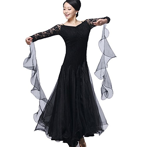 Ballroom Dance Dresses Long Sleeve Practise Dance Rhinestone Competition Dresses Modern Waltz Tango Smooth Ballroom Dance Costumes For Women Flamenco Dresses Showcase Dance (Belly Dance Costumes Large Ladies)