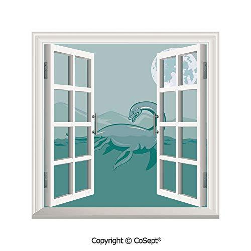 - SCOXIXI Window Wall Sticker,Loch Ness Monster Lake Sea Serpent Mountain Moon Waterscape Illustration,3D Window View Decal Home Decor Deco Art (26.65x20 inch)