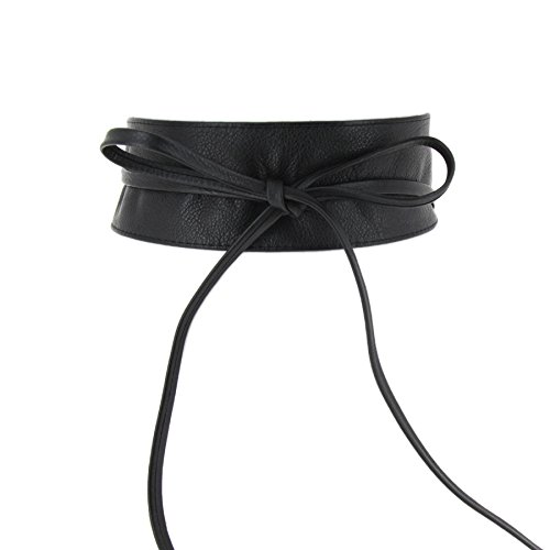(FASHIONGEN - Woman Italian leather Obi belt, CASSIANE - Black, S-M)