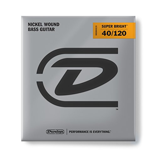 Dunlop DBSBN40120 Super Bright Bass Strings, Nickel Wound, Light, .040-.120, 5 Strings/Set
