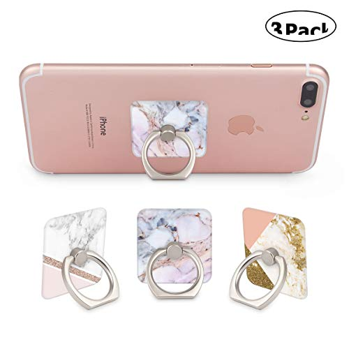 Three Pack 360 Degree Rotating Phone Ring Holder Stand Grip Kickstand for Cellphones,Smartphones and Tablets-Marble