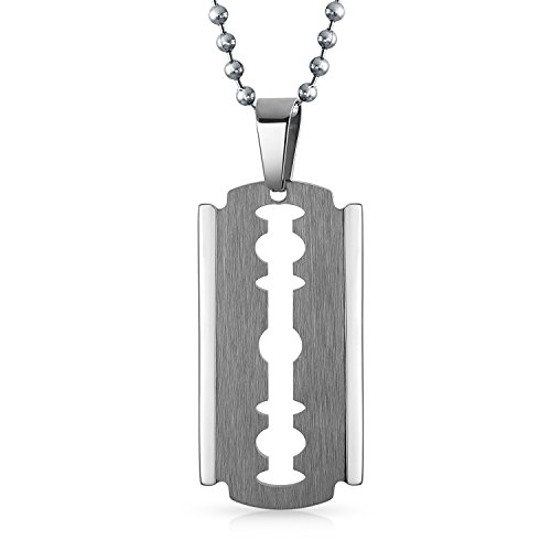 Beveled Blade (Bling Jewelry Beveled Edge Dog Tag Razor Blade Pendant Stainless Steel Necklace 20 Inches)
