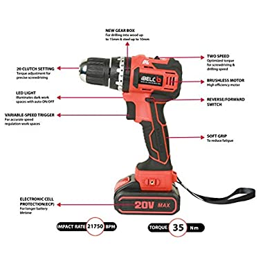 iBELL BM18-60 20V Brushless Impact Driver Drill (Cordless) with 2 Batteries, Charger, Case and Screw Driver Bit - 1 Year Warranty. 10
