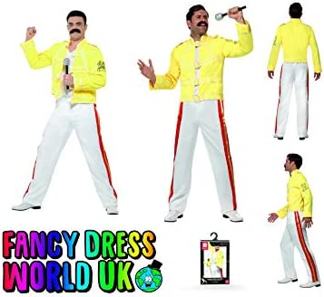 Freddy Mercury Fancy Dress Rock Star Disfraz de Wembley Live Aid y ...
