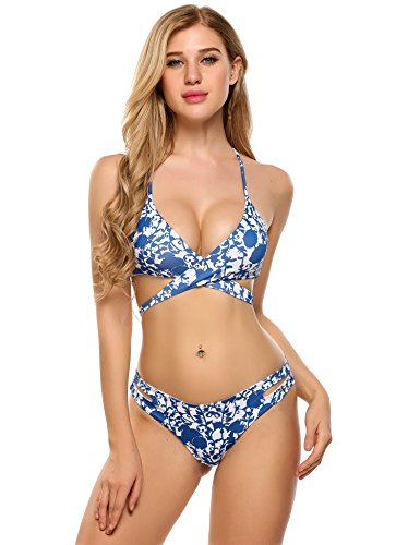 Ekouaer Fashion Women's Floral Leaves Plants Printing Cross Padding Bikini Set (Blue,...