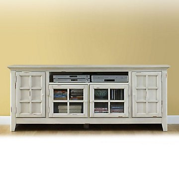 New Generation Antique White Widescreen TV Stand with Media Storage (Widescreen Tv Console)