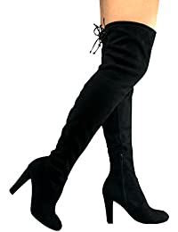 Women's Thigh High Stretch Boot - Trendy High Heel Shoe - Sexy Over The Knee Pullon Boot - Comfortable Heel