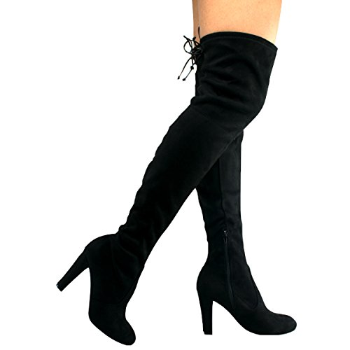 Premier Standard Women's Thigh High Stretch Boot - Trendy High Heel Shoe - Sexy Over The Knee Pullon Boot - Comfortable Easy Heel, TPS Amaya-01 New Black Size 7