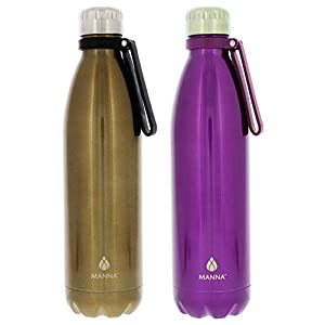 Manna Vogue Insulated Bottles - 25 oz - 2 Pack (Gold and Purple)