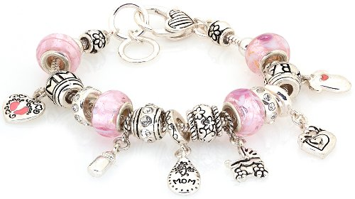 "Lova Jewelry Pink ""Mom and Baby"" Values Bracelet"