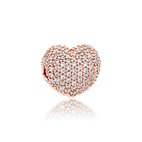 (Pandora Pave Open My Heart Rose & Silver Clip Charm 781427CZ)