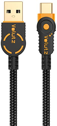Volutz USB Type C Cable, USB A 2.0 to USB-C Fast Charger, Nylon Braided Cord for Samsung Galaxy S10 S9 S8 Plus Note 9/8, LG V20 G5 Moto Z, Nintendo Switch and More USB C Devices -1m / 3.3ft (Orange)