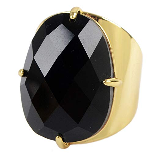 ZENGORI 1 Pcs Gold Plated Prong Setting Oval Natural Black Agate Fashion Ring ZRG0113