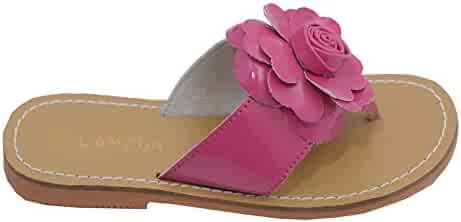7eb594f7e L Amour Toddler Girls Fuchsia Patent Flower Flip Flop Sandals 7-10 Toddler