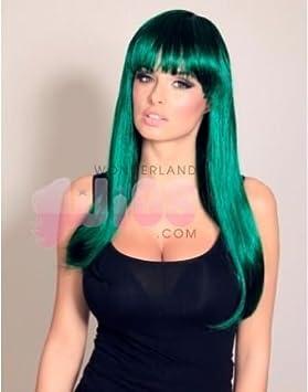Straight verde oscuro aguamarina y peluca Negro - Perfecto para Halloween - Calidad superior del pelo