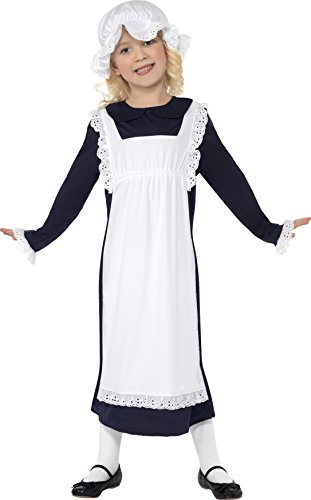 Smiffys Children's Victorian Poor Girl Costume, Dress, Apron & Hat, Ages 10-12, Size: Large, Color: Black and White Girl Costume Dress Hat Apron