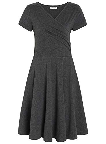 Pintage Women's Surplice V Neck Knee Length Wrap Dress L Deep Heather Gray ()