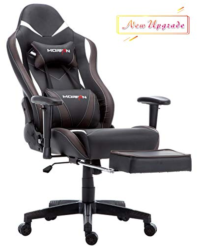 - Morfan Gaming Chair Large Size Massage Function Ergonomic Racing Style PC Computer Office Chair with Retractable Footrest & Adjustable Lumbar and Headrest Pillows (Black/Brown)