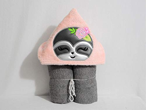 Pretty Pink and Grey Girl Sloth Hooded Bath Towel - Baby, Child, Tween