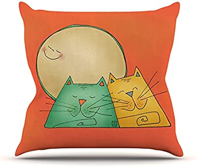 Kess InHouse Carina Povarchik 2 Gatos Romance Love Cats Outdoor Throw Pillow, ...