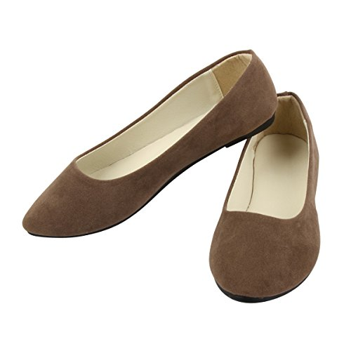 On Cute Shoes Pointed Stunner Women by Classic Soft Brown Solid Ballet Slip Flats Toe qtwZ5XZ
