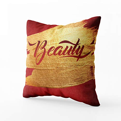 Mediterranean Poster Bed - HerysTa Art Pillow Case, Home Decorative Cotton Pillow Covers 18X18inch Invisible Zipper Cushion Cases Beauty Gold Foil Red Calligraphy Poster Square Sofa Bed Décor