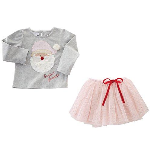 Mud Pie Baby Toddler Girls' Santa's Favorite Long Sleeve Shirt and Tutu Two Piece Set, Gray/Pink, 12-18 MOS - Mud Pie Santa