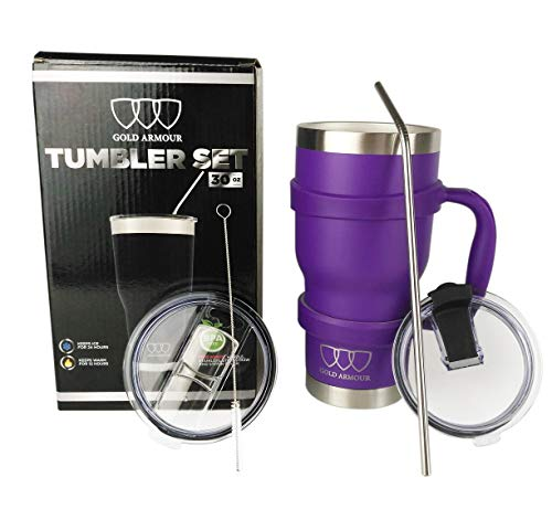 30 oz Tumbler - 6 Piece Stainless Steel Insulated Water & Coffee Cup Tumbler with Straw, 2 Lids, Handle - 18/8 Double Vacuum Insulated Travel Flask (Purple, 30oz)