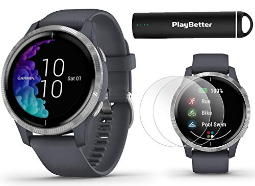Garmin Venu (Granite Blue/Silver) Power Bundle   +HD Screen Protectors (x4) & PlayBetter Portable Charger   AMOLED Display, Spotify   Fitness GPS Smartwatch