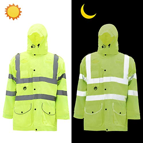 Holulo Waterproof 7-in-1 Reflective Class 3 Safety Parka Jacket with Zipper and Pockets Size XL by Holulo (Image #1)