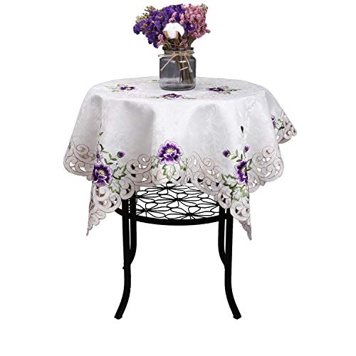 (Elegant purple flower embroidery floral square dining kitchen home room cutwork small table cover top party wedding gift)
