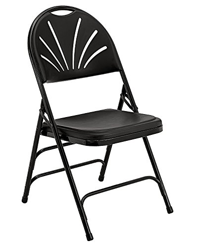 - National Public Seat Polyfold Fan Back Chair Triple Brace Double Hinge Black - 4 Pack electronic consumers