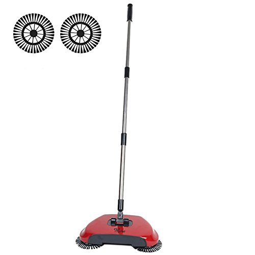 3 in 1 Household Lazy Automatic Hand Push Sweeper Broom 360 Degree Rotating Cleaning Machine Sweeping Tool Without Electricity Dustpan Trash Bin (Red) by SHINENGkeji (Image #2)