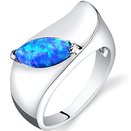 Created Blue Opal Mod Ring Sterling Silver Marquise Cut Size 9