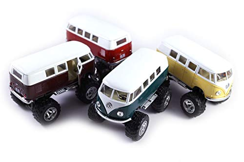 (HCK Set of 4 1962 Classic VW Bus 4x4 Off Road Monster Truck - Pull Back Toy Cars 1:32 Scale (Green/Purple/Red/Yellow))