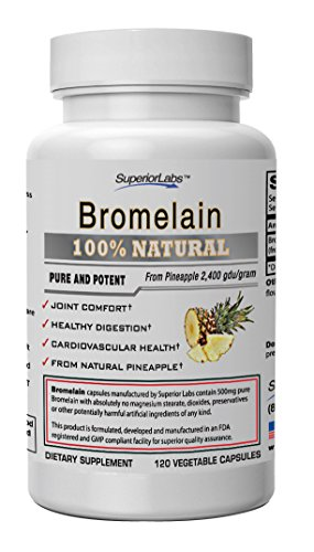 #1 Bromelain by Superior Labs - Non Synthetic! - 2,400gdu/gram. 500mg, 120 Vegetable Caps - Made in USA, 100% Money Back Guarantee