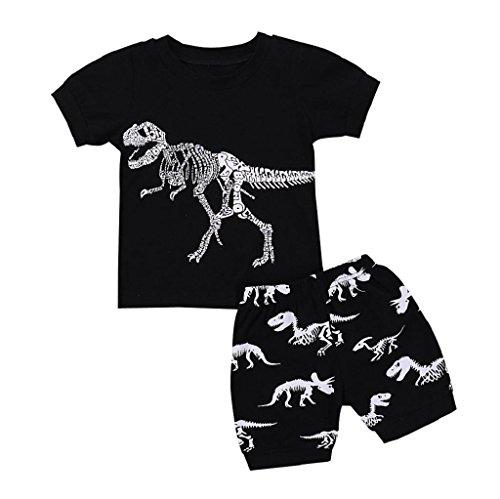 Yamally_9R_Boys Clothes Set 24M-7T,Yamally Boys Pajamas 100% Cotton Short Kids Snug Fit Pjs Summer Toddler Sleepwear Clearance (3 Years OId, Black) -