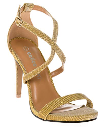 - CALICO KIKI DEVYN-CK02 Women's Open Toe Cross Strap Platform Evening Dress High Heel Pumps (9 US, Gold Gliter)