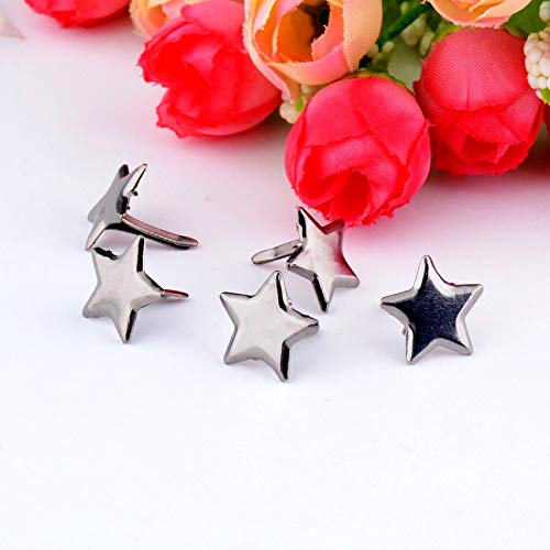 Garment Rivet - -50PCs Gunmetal Pastel Star Brads Scrapbooking Embellishment Holiday Decoration & Gift 14x14mm F0735
