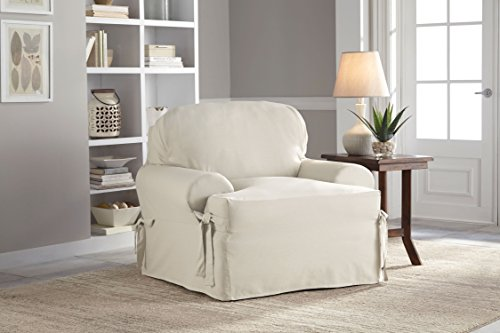 Serta Relaxed Fit Duck Slipcover T-Cushion Chair and Ottoman Set, Natural, 2 Piece