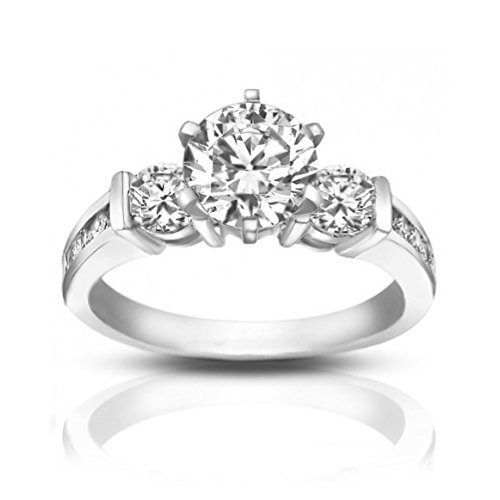 1.74 ct Ladies Round Cut Diamond Engagement Ring in Channel Setting in in 14 kt White Gold In Size 6 1.74 Ct Round Diamond