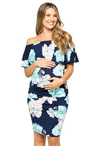 - My Bump Women's Ruffle Off-Shoulder Maternity Dress W/Side Sharing(Made in USA)(Navy_Blue SKAS, Large)